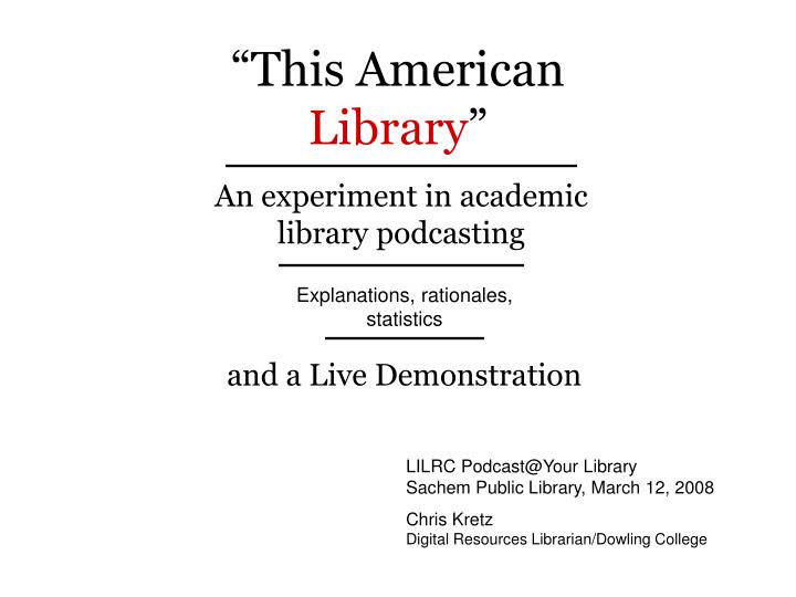 this american library n.