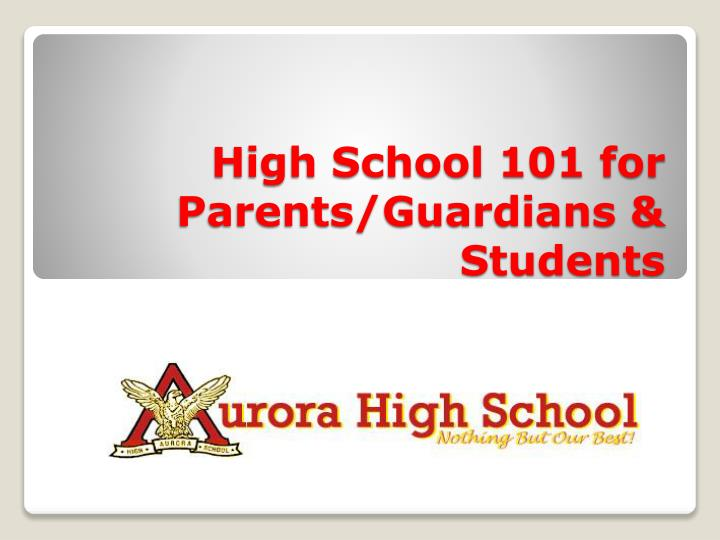 high school 101 for parents guardians students n.