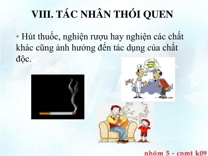 VIII. TÁC NHÂN THÓI QUEN