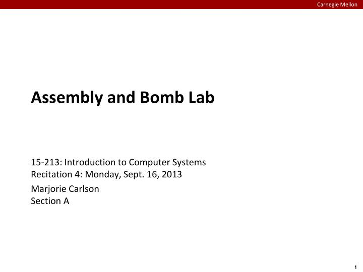 assembly and bomb lab n.