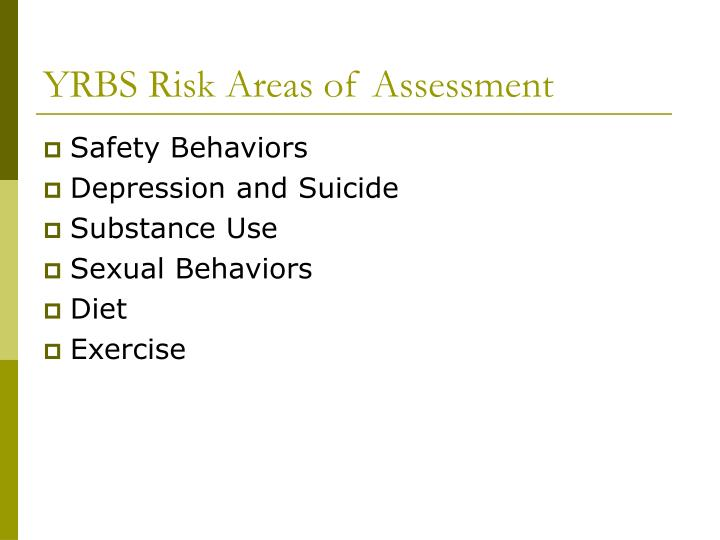 Yrbs risk areas of assessment
