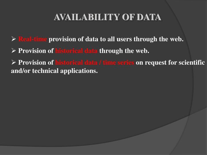 AVAILABILITY OF DATA