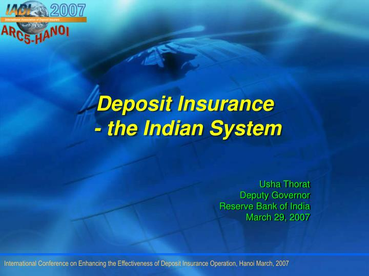 deposit insurance the indian system n.