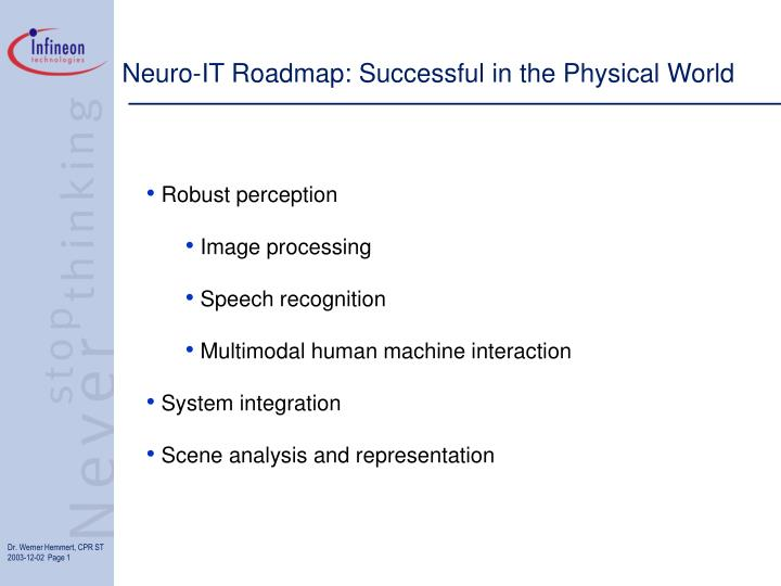 Neuro it roadmap successful in the physical world