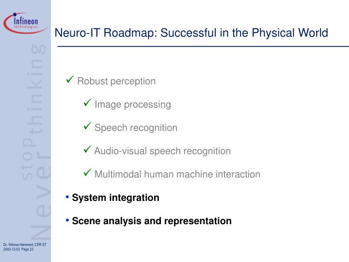 Neuro-IT Roadmap: Successful in the Physical World