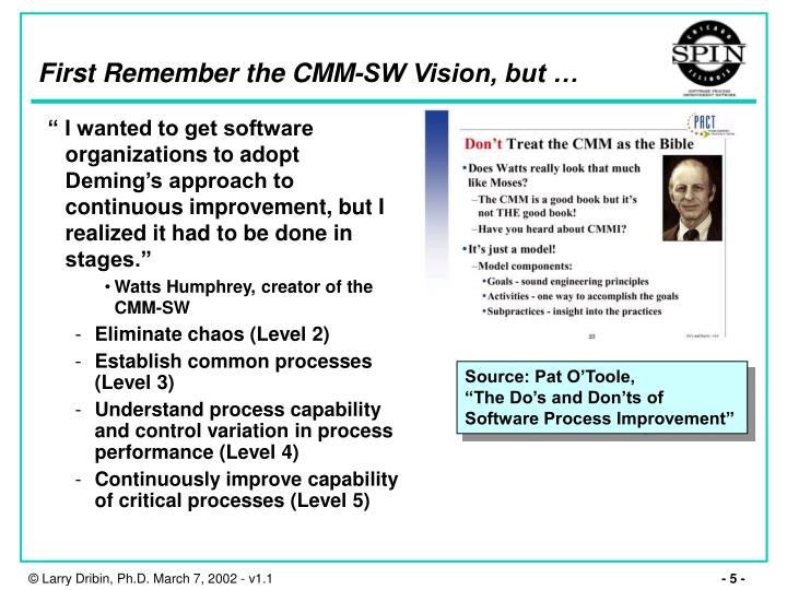 First Remember the CMM-SW Vision, but …
