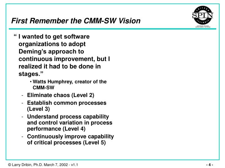 First Remember the CMM-SW Vision