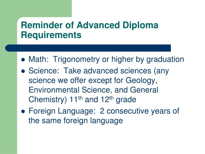 Reminder of Advanced Diploma Requirements