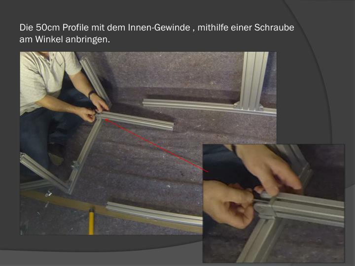 Die 50cm Profile mit dem Innen-Gewinde , mithilfe einer Schraube am Winkel anbringen.