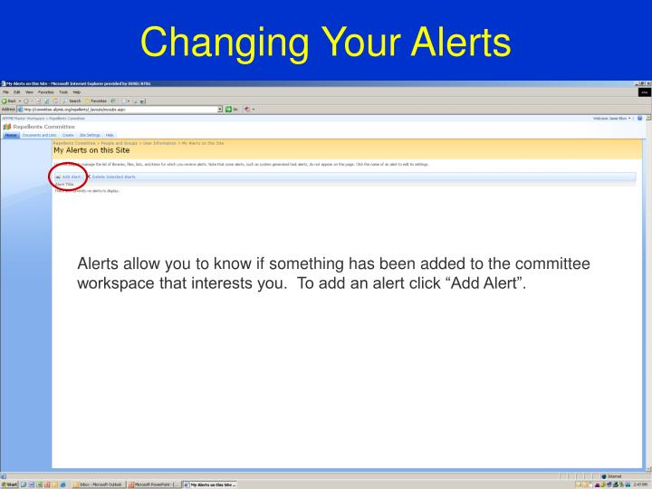 Changing Your Alerts