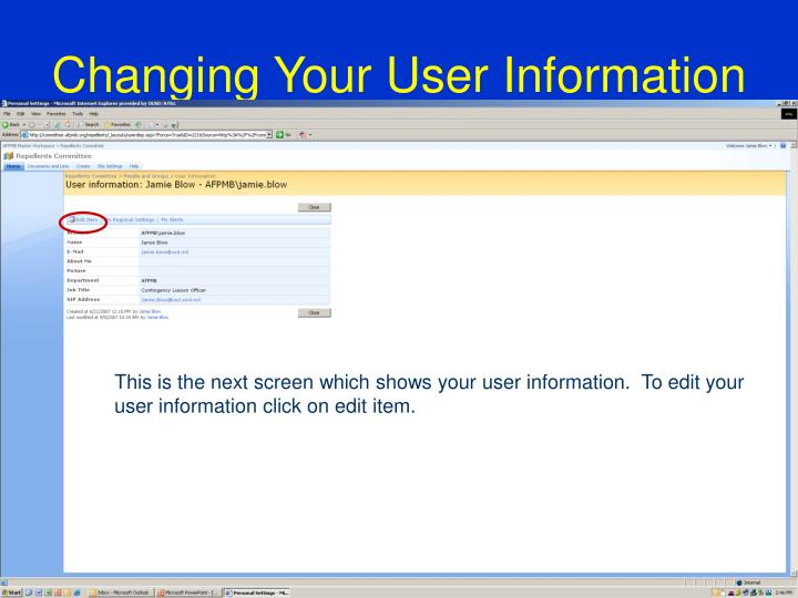 Changing Your User Information