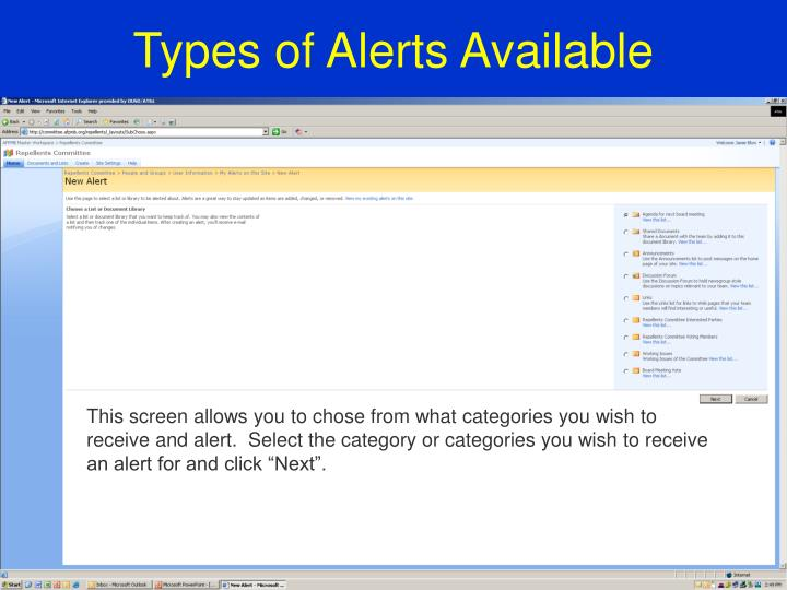 Types of Alerts Available