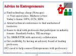 advice to entrepreneurs