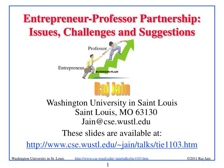 entrepreneur professor partnership issues challenges and suggestions n.