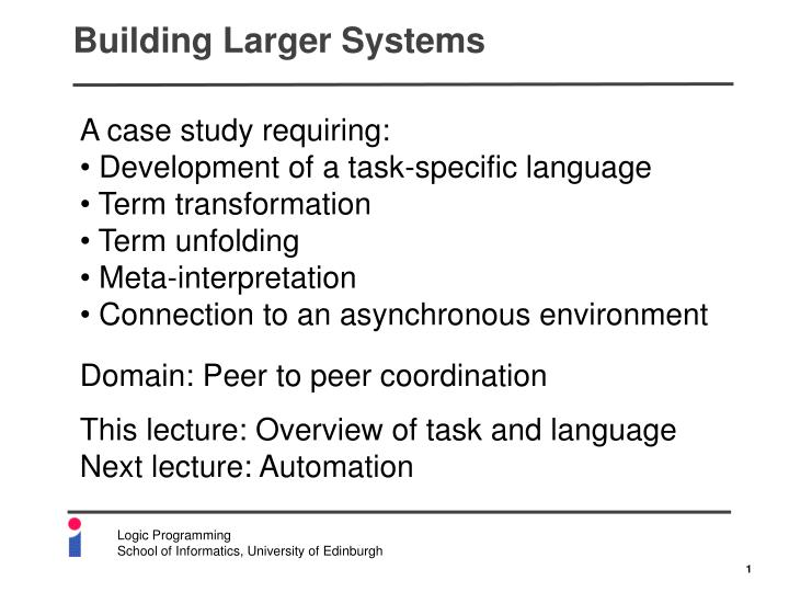 building larger systems n.