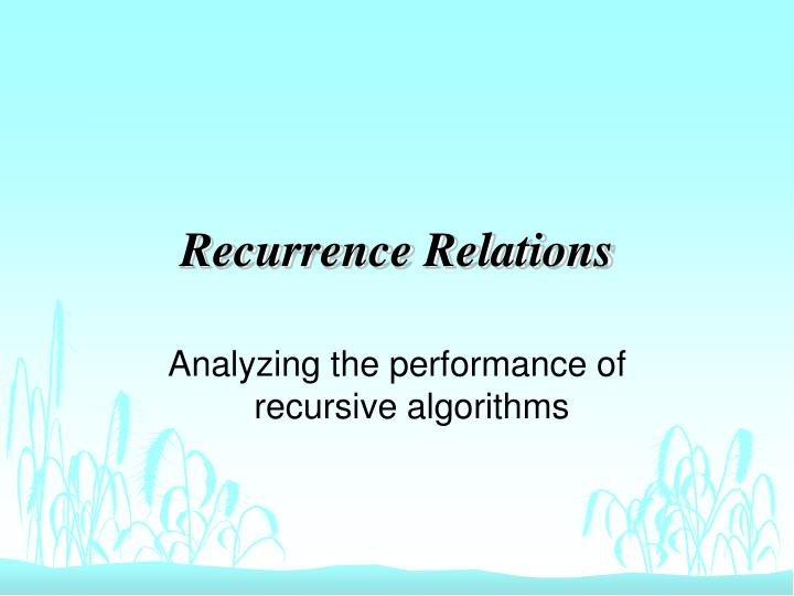 recurrence relations n.