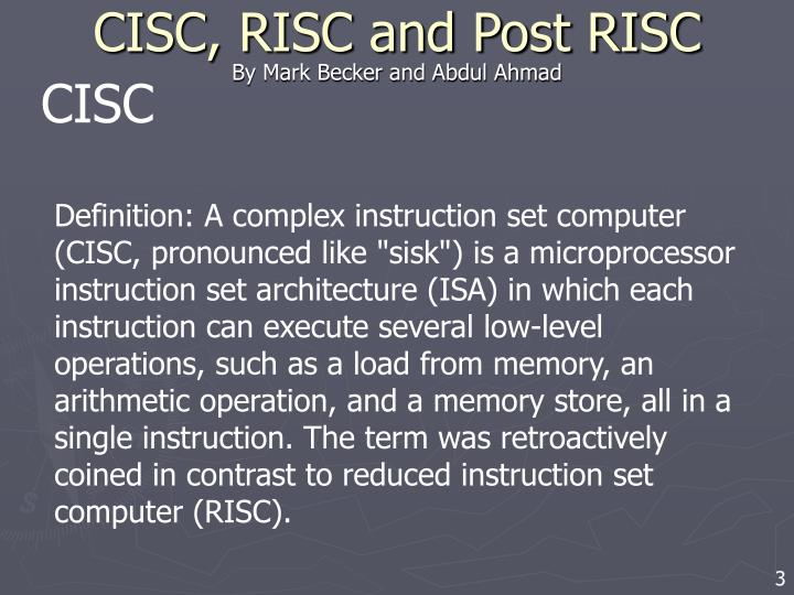 Cisc risc and post risc2