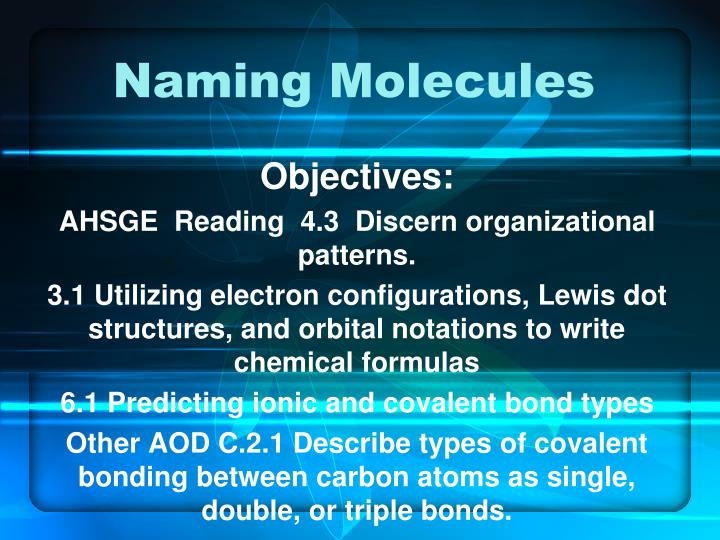 naming molecules n.