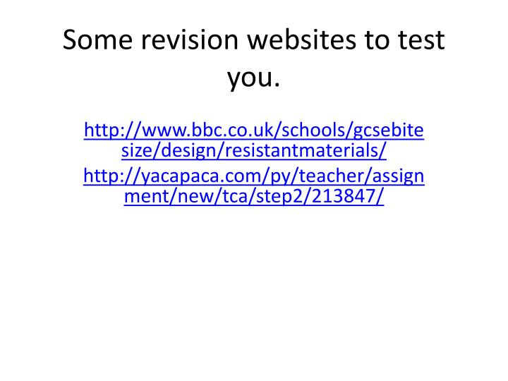some revision websites to test you n.