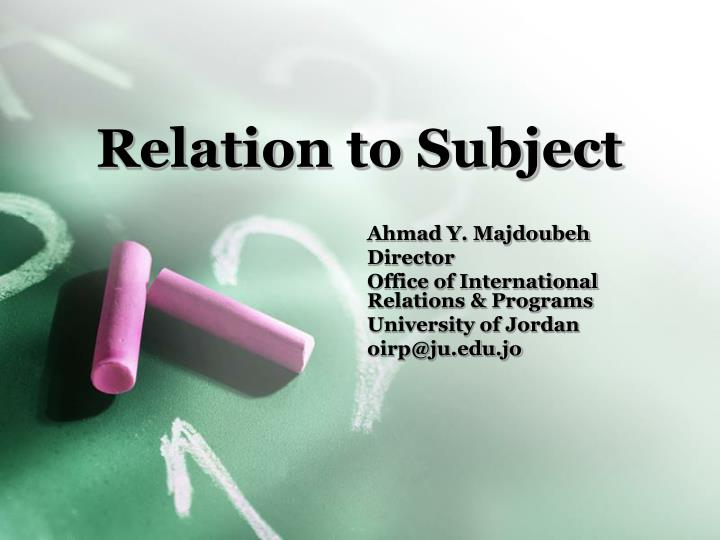 relation to subject n.