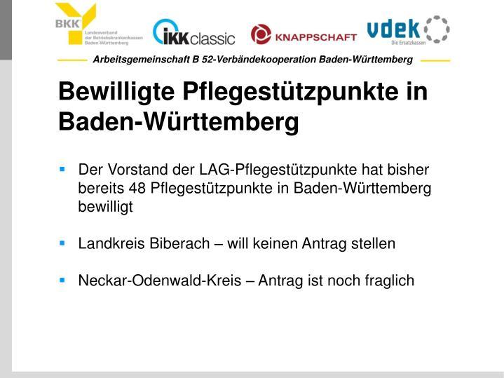 Bewilligte Pflegestützpunkte in Baden-Württemberg