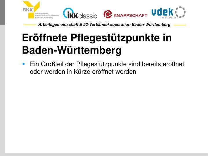 Eröffnete Pflegestützpunkte in Baden-Württemberg