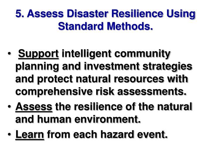 5. Assess Disaster Resilience Using Standard Methods.