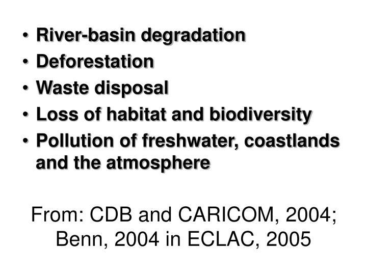 From: CDB and CARICOM, 2004; Benn, 2004 in ECLAC, 2005