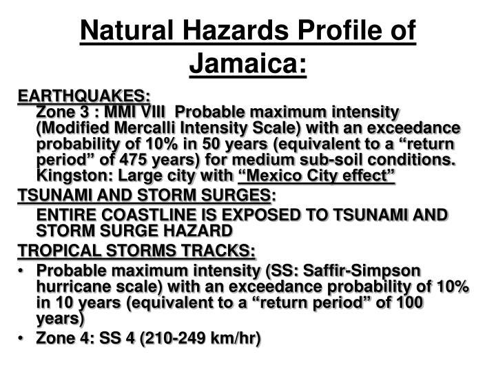 Natural Hazards Profile of Jamaica: