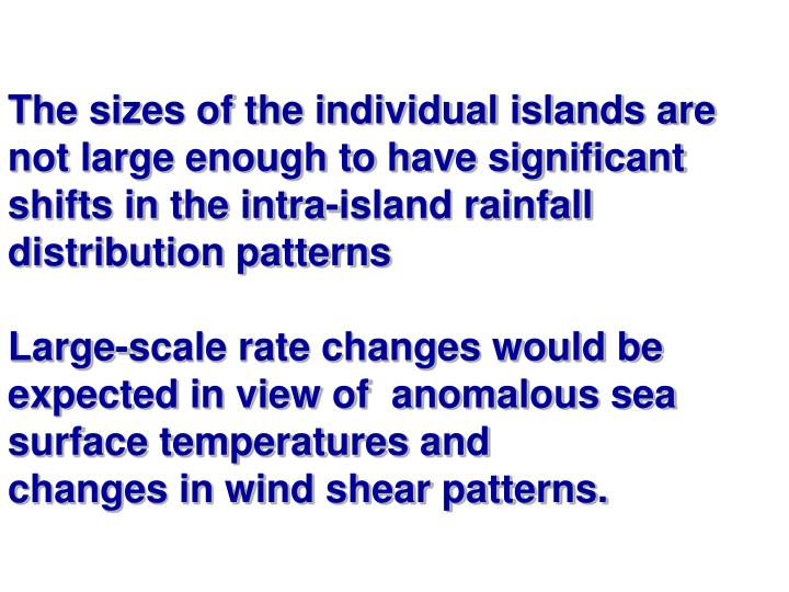 The sizes of the individual islands are not large enough to have significant shifts in the intra-island rainfall distribution patterns