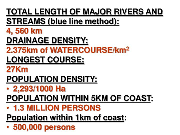 TOTAL LENGTH OF MAJOR RIVERS AND STREAMS (blue line method):