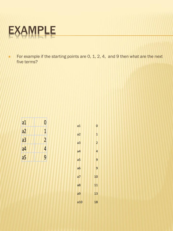 For example if the starting points are 0, 1, 2, 4,  and 9 then what are the next five terms?