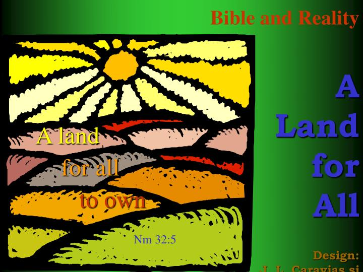 bible and reality a land for all design j l caravias sj n.
