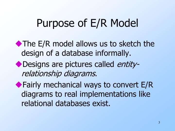 Purpose of e r model