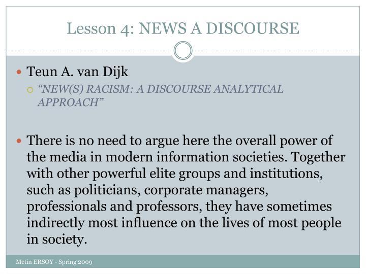 Lesson 4 news a discourse