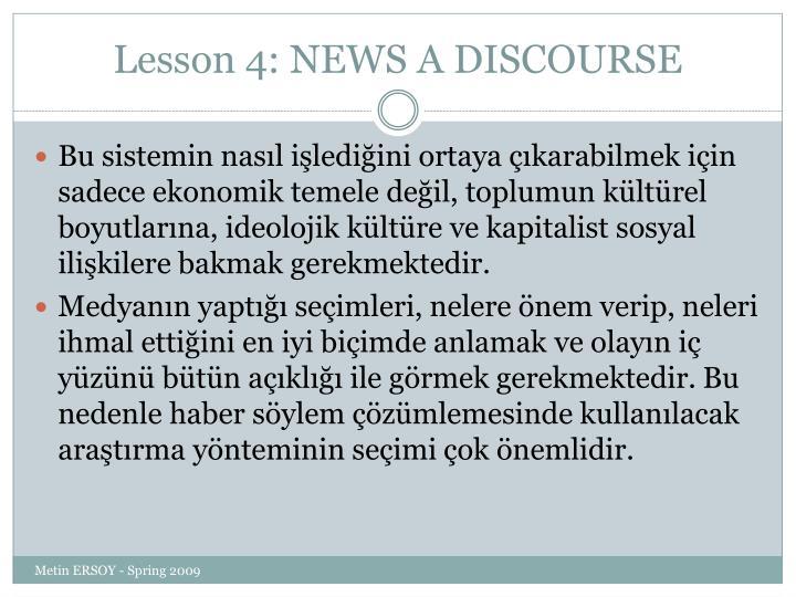 Lesson 4: NEWS A DISCOURSE