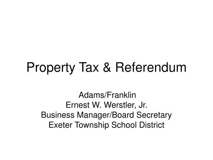 property tax referendum n.