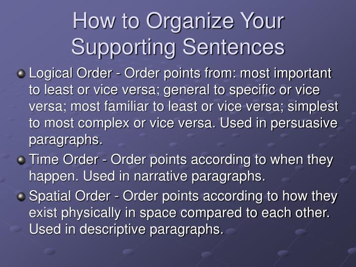 How to Organize Your Supporting Sentences