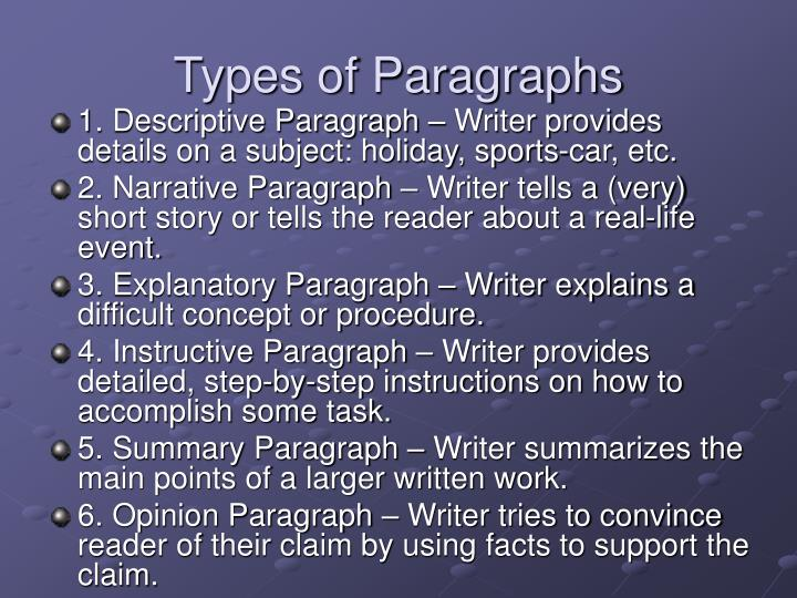 Types of paragraphs