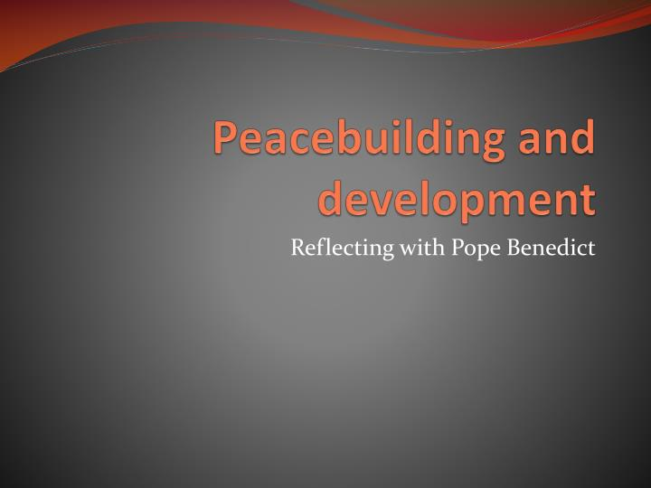 peacebuilding and development n.