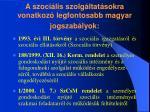 a szoci lis szolg ltat sokra vonatkoz legfontosabb magyar jogszab lyok