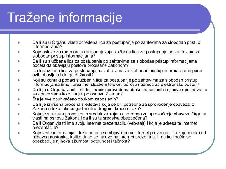 Tražene informacije