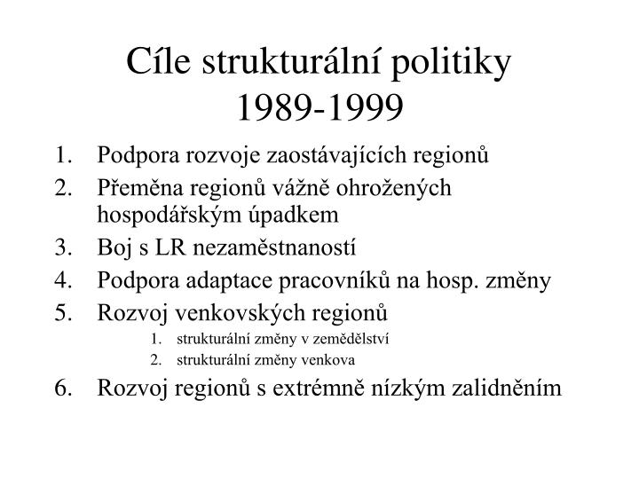 Cíle strukturální politiky