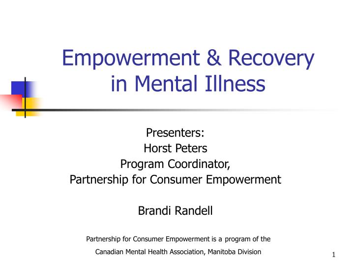 empowerment recovery in mental illness n.