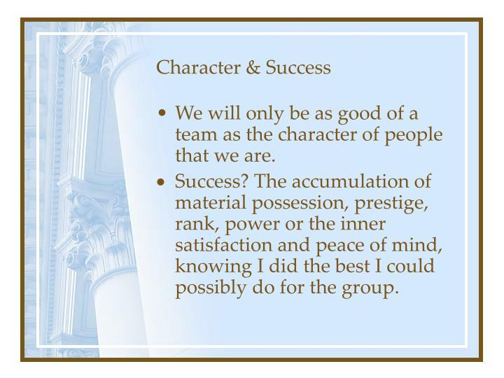 Character & Success