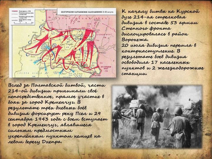 К началу битвы на Курской дуге 214-ая стрелковая дивизия в составе 53 армии Степного фронта дислоцировалась в район Воронежа.