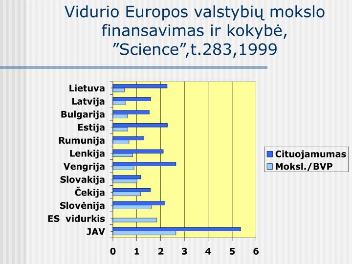 Vidurio Europos valstybių mokslo finansavimas ir