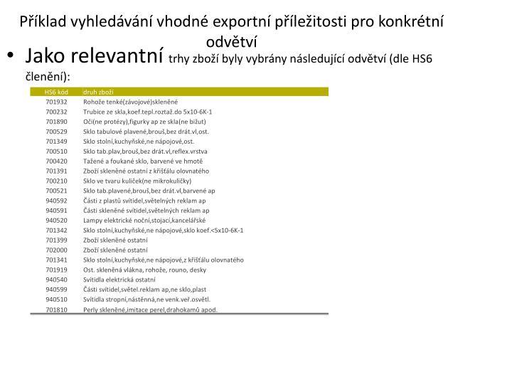 Příklad vyhledávání vhodné exportní příležitosti pro konkrétní odvětví
