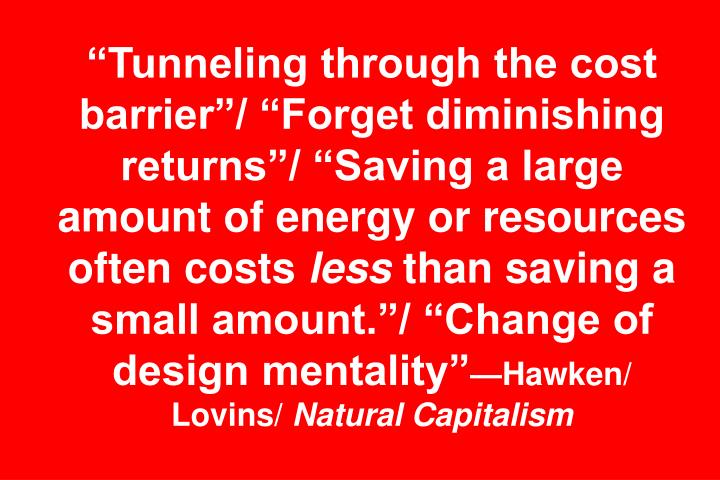 """""""Tunneling through the cost barrier""""/ """"Forget diminishing returns""""/ """"Saving a large amount of energy or resources often costs"""