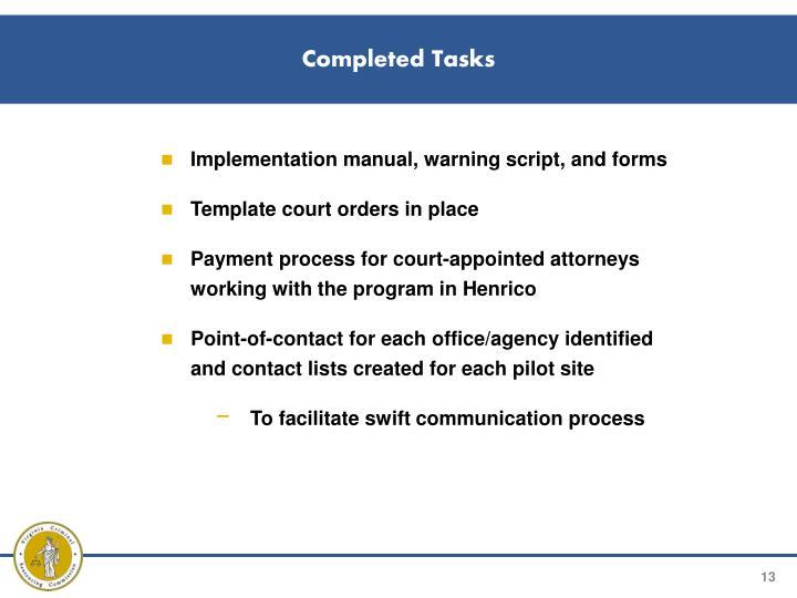Completed Tasks
